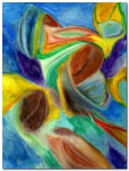 Jayne's abstract in oil pastels